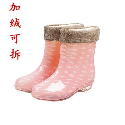 20196年夏季新款韩版时尚雨鞋女水鞋中筒保暖加绒可拆防滑防水雨靴耐磨成人胶鞋女士雨靴优旋