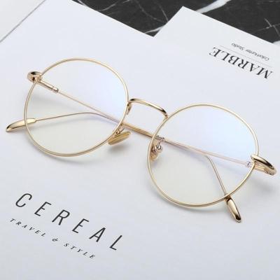 隆峰(Longfeng)配近视眼镜平光镜男女通用圆框复古金属细边近视镜 镜框 全框记忆钛近视眼镜架