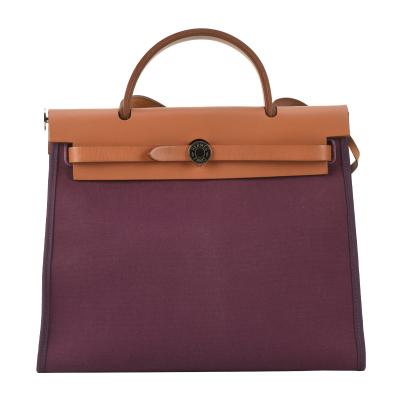 【正品二手9新】HERMES HERBAG31紫色帆布拼皮兩用包 10017170
