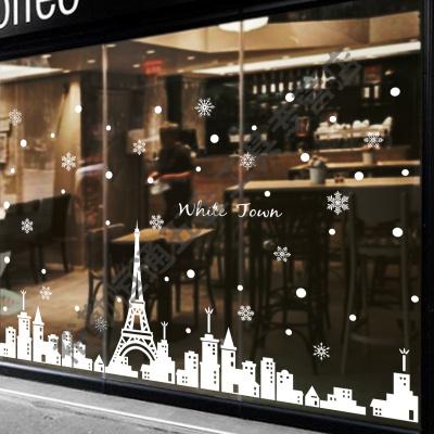 白色建筑圣诞墙贴纸商场餐厅店铺玻璃装饰用品圣诞节雪花窗贴自粘 圣诞装饰