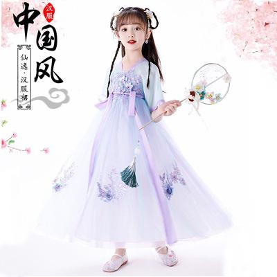 抖音兒童漢服女童中國風唐裝古裝超仙櫻花公主襦裙夏季連衣裙小女孩古裝12歲裙子夏裝