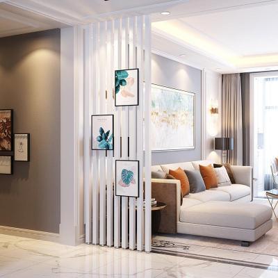 北歐新中式實木隔斷立柱客廳玄關入戶木條柵格裝飾免打孔豎條屏風定制 251~280CM高、一組9根(5*5) 整裝