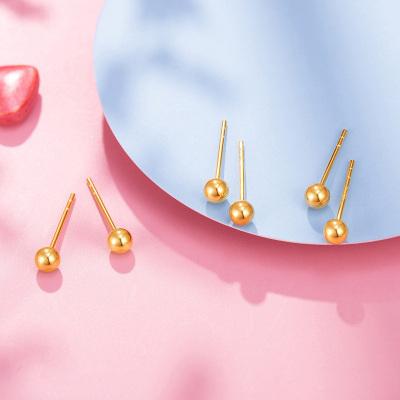 【2020新款】老廟黃金 18K金耳飾Au750玫瑰金圓光珠耳釘女