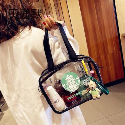超火化妝袋女便攜隨身手提日系可愛透明化妝包大容量護膚品收納盒