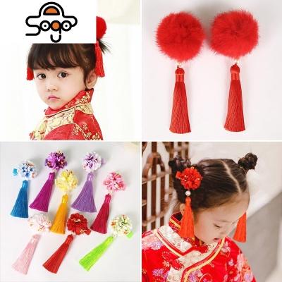 儿童古代饰夹女童中国风红色毛球头饰流苏宝宝唐装新年头花品