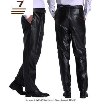 NEW LAKE單款薄絨男皮褲防油防水工作褲勞保褲高腰寬松耐磨騎行摩托車皮褲