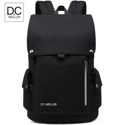 美倫博士(Dc.MeiLun)2020款男士雙肩包時尚潮流休閑簡約電腦旅行書包大學生帆布背包