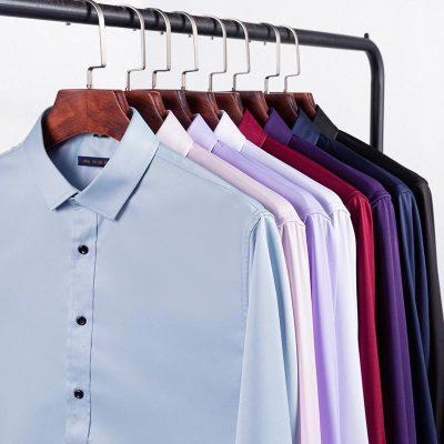 彈力襯衫男長袖免燙抗皺修身商務高端正裝薄款西裝白襯衣男士夏季
