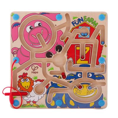 Hape快樂農場迷宮年齡段2-6歲玩具早教磁性運筆走珠迷宮農場動物兒童多人互動E1702