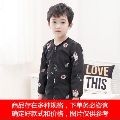 冬季男童宝宝长袖防水防油罩衣幼儿园吃饭衣长款防脏儿童拉链护衣