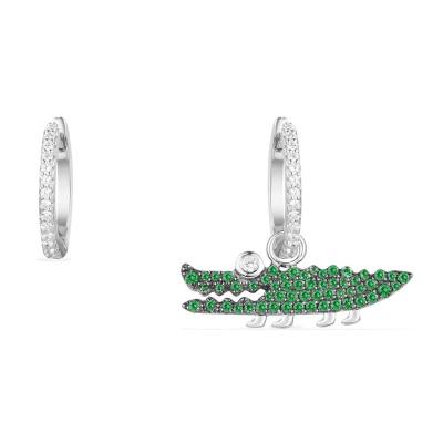 APM Monaco【迪麗熱巴 蔡依林同款】女士不對稱S925銀鑲薄荷綠晶鉆小鱷魚造型 銀耳飾耳釘AE10623XKG