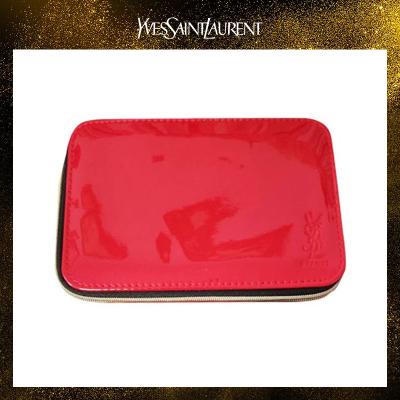 圣羅蘭(YSL)內帶鏡子紅黑拼接化妝包