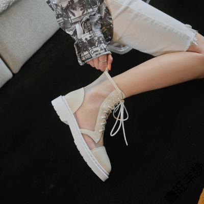 2020夏季新款透氣薄款短靴女平底白色馬丁靴網紗女靴子英倫風港味