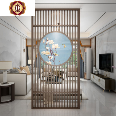 新中式屏風客廳隔斷墻現代入戶辦公室禪意進遮擋玄關實木鏤空