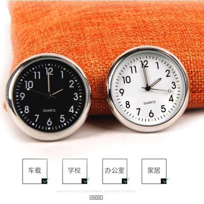 汽車石英表出風口車載時鐘迷你夜光電子表車用電子鐘表車內時間表 經典白表