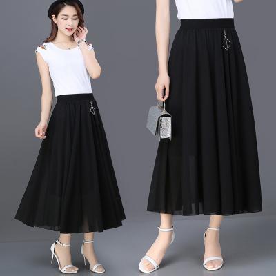 2020新款雪紡半身裙女夏中長款高腰百褶垂感長裙氣質打底a字裙子FISH BASKET