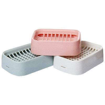 茶花肥皂盒家用雙層瀝水排水皂架洗臉盒衛生間創意便攜大號香皂盒