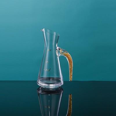 白酒杯套裝金箔無鉛水晶玻璃白酒杯一口杯手工杯烈酒杯分酒器禮盒套裝公司年會禮品年貨 金箔單壺斜口(100ML)
