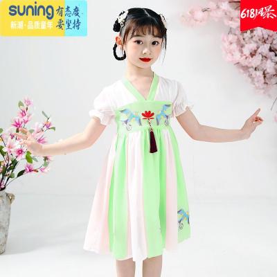 漢服女童連衣裙2020新款夏裝中國風兒童古裝小女孩古風超仙女襦裙 七斕兒童旗袍/唐裝/民族服飾