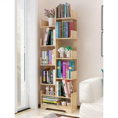 HOTBEE書架落地簡易客廳實木樹形置物架兒童簡約小型書柜收納省空間家用
