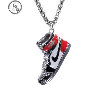 AJ1黑红脚趾篮球鞋子挂件吊坠925银嘻哈项链长款男女毛衣链刻字   JiMi