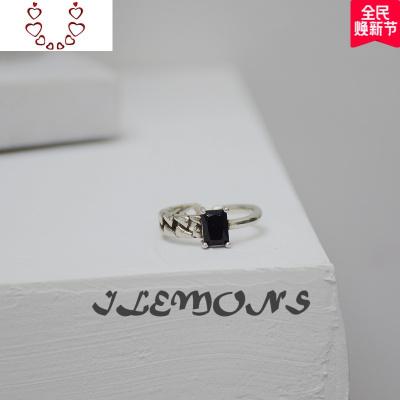 韓ins冷淡風白銅鍍泰銀黑瑪瑙鏈條戒指不規則個性復網格開口戒女 Chunmi