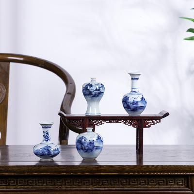 每日精進(enhancement)景德鎮純手工中式客廳茶臺復古青花瓷迷你插花小花瓶陶瓷裝飾擺件