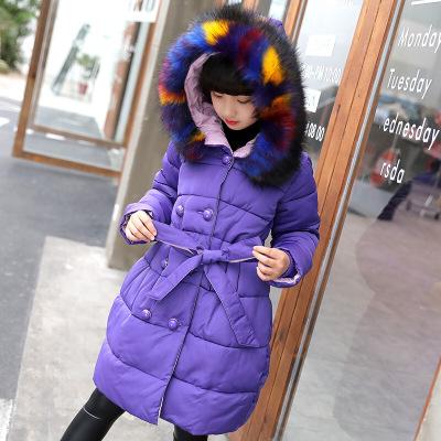 冬季加厚保暖棉服潮兒童個性拼色毛領外套韓版復古系帶收腰棉衣甜美氣質女孩襖子上衣