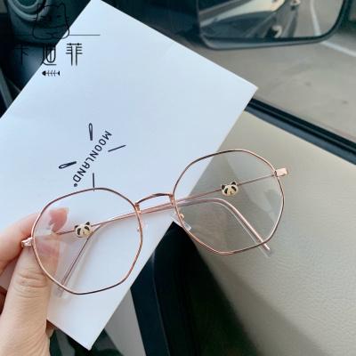 【品質優選】近視眼鏡女學生韓版潮可配有度數多邊形熊貓款眼鏡框防輻射平光鏡