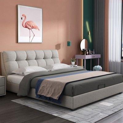 閣霖特布藝床北歐科技布易清洗雙人床主臥1.8米臥室現代簡約實木婚床