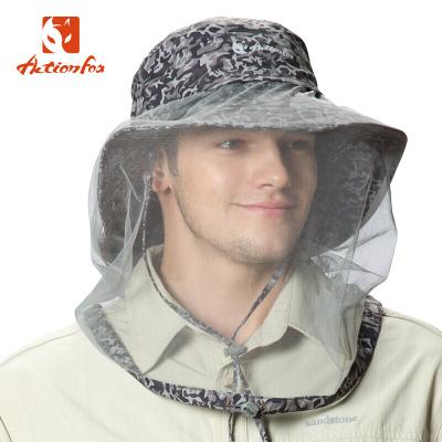 快樂狐貍(ActionFox)男士叢林帽子迷彩快干釣魚帽防蚊蟲帽子4785