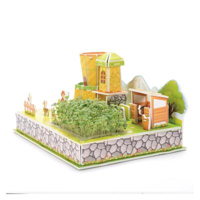 3D立體拼圖種植農場zilipoo親子小農莊益智力兒童DIY紙質建筑模型玩具z-002升級版開心牧場