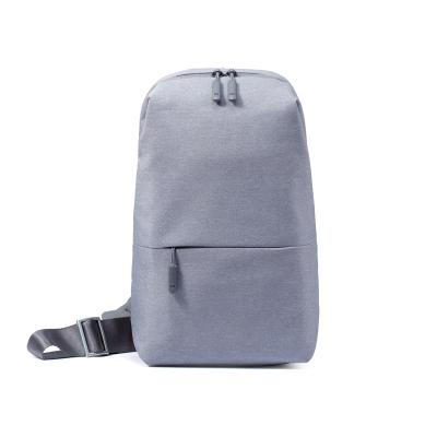 小米(MI)多功能都市休閑胸包 淺灰色 單肩包 可放入7英寸平板電腦通用