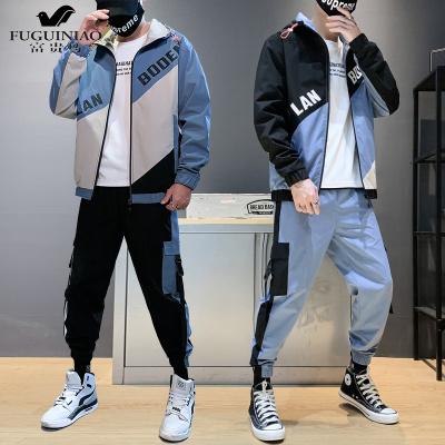 富貴鳥(FUGUINIAO)夾克工裝套裝男生潮流秋季韓版寬松帥氣休閑運動衣服褲子搭配一套