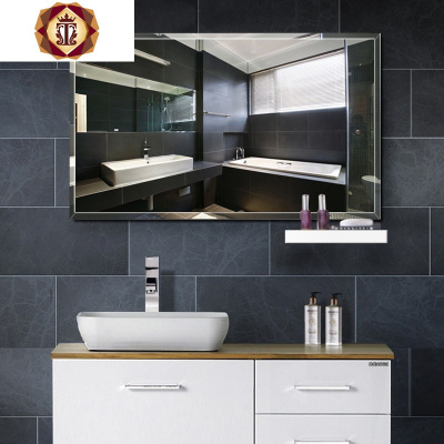 三維工匠掛墻壁掛鏡可貼浴室圓角鏡子家用衛生間粘貼前下掛鏡廁所式小無框