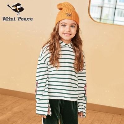 minipeace太平鸟童装女童卫衣连帽条纹休闲上衣儿童娃娃衫春秋装新款