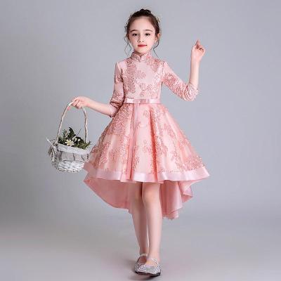 公主裙礼服儿童长拖尾女童前短后长裙长袖儿童拖尾旗袍裙中国风小学生钢琴演出