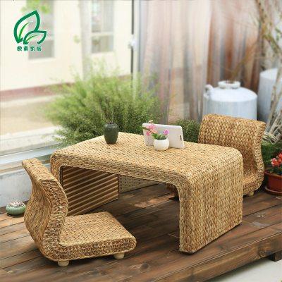 航竹坊 藤编榻榻米茶几组合 日式实木飘窗茶几榻榻米桌 地台桌草编飘窗桌