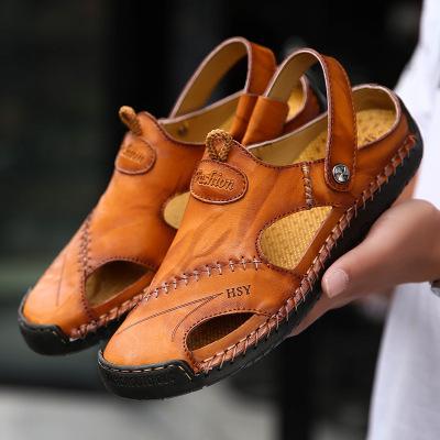 策恩公牛2020新款大碼涼鞋男士夏季真皮戶外沙灘鞋軟底歐美手工涼拖鞋