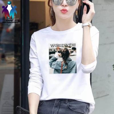 長袖T恤女學生春秋新款韓版寬松大碼白色圓領印花百搭打底衫運動T桖 邁詩蒙