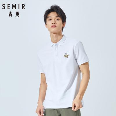【79元3件任選】Semir森馬2019夏季短袖T恤撞色刺繡Polo衫美式復古男士帥氣體恤