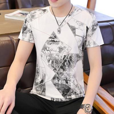 紫曼羽ZIMANYU2020新款夏季潮流印花圓領POLO衫短袖T恤
