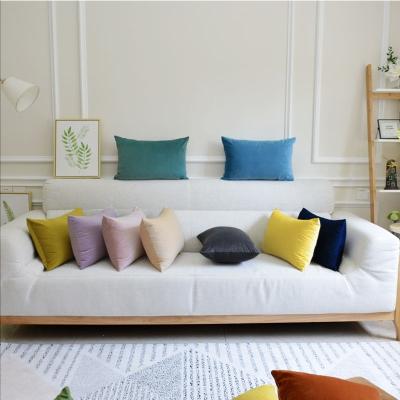 新款纯色天鹅绒抱枕靠垫欧式沙发长方形靠枕床头枕头大靠背套定制 蔚蓝 33x50cm抱枕含芯(小)