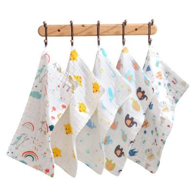 斜月三星 3-10條裝純棉泡泡紗方巾童巾 兒童卡通洗臉毛巾 柔軟親膚