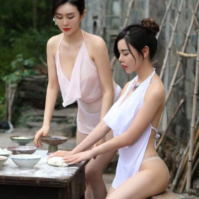 情趣肚兜式睡衣女士性感套內衣誘惑騷古裝古代宮廷明白白色均碼