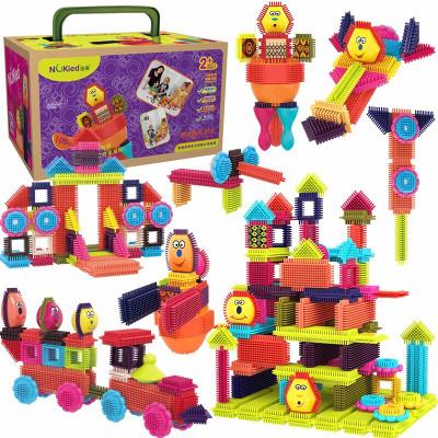 纽奇Nukied 鬃毛儿童积木玩具 男孩女孩早教益智拼插玩具软积木108件套【配件颜色&数量随机】