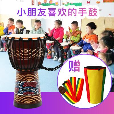 美德威MIDWAY 8寸彩绘实木款非洲鼓手鼓 儿童初学者丽江演奏山羊皮手鼓