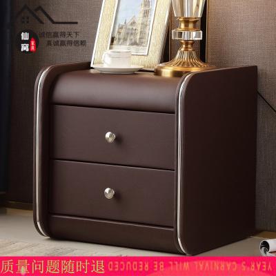 仙窩床頭柜皮質 簡約現代迷你歐式臥室儲物柜窄簡易40CM35CM皮床邊柜