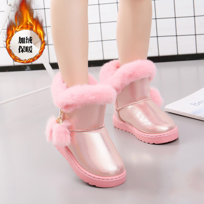 女童雪地靴冬季兒童棉鞋加絨加厚大棉童鞋保暖防水女孩中筒靴子劉家琦