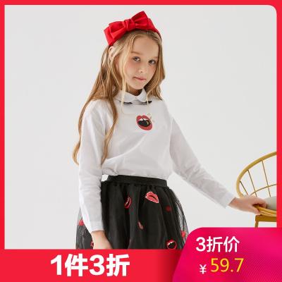 【1件3折價:59.7】米喜迪mecity童裝春秋新款女領口后襟長袖襯衫